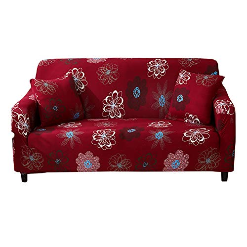 HOTNIU 1-Piece Stretch Sofa Couch Covers - Spandex Printed Fitted Elastic Couch Slipcovers - Patterned Seat Furniture Protector with Elastic Bottom and Straps (Loveseat, Pattern #FFNHH)