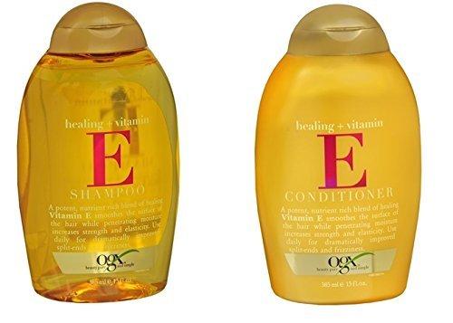 OGX Healing Plus Vitamin E Shampoo and Vitamin E Conditioner 13 oz [Bundle of 2 Items]