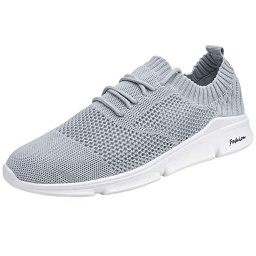 iHPH7 Sneakers Summer Hollow Mesh Breathable Sneakers Non-Slip Wear-Resistant Sneakers Men's (41,Gray)