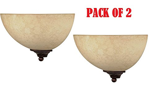 Half Wall Sconce 1 Light - Nuvo 60/044 One Light Wall Sconce with Tuscan Suede Glass, Old Bronze 2 pack