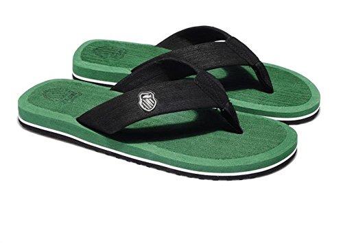 Minetom Herren Mode Zehentrenner Flats Flip Flops Sommer Strand Pantoffeln Badeschuhe Grün