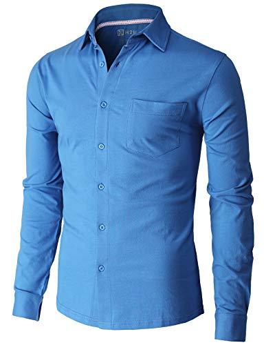 H2H Men's Casual Slim Fit Cotton Shirts Long/Short Sleeve Jersey Button Down Shirt