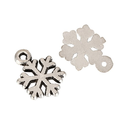 20 x Snowflake Charms 10mm Antique Silver Tone for Bracelets Necklaces Earrings #MCZ389