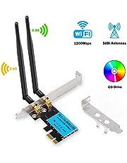 WiFi Card Wireless Network Card AC1200Mbps PCIe Dual Band 5G/2.4G Wireless WiFi Adapter Network Card for Windows 10/Windows 8/Windows 7