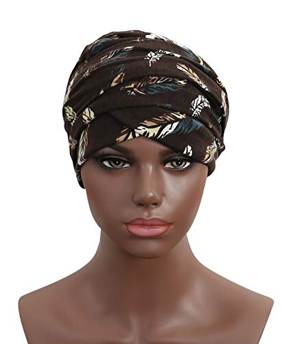 Women Turban Hat Head Wrap - Multi Colour Black African Jersey Magic Headband Turbans Headwrap Tube Scarf Tie Hijab For Hair Muslim Bohemian Boho Chemo Cap