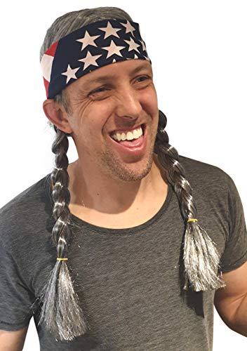 Willie Nelson Halloween (Hippie Willie Wig Cowgirl Cowboy Country Nelson Braids Wig USA)