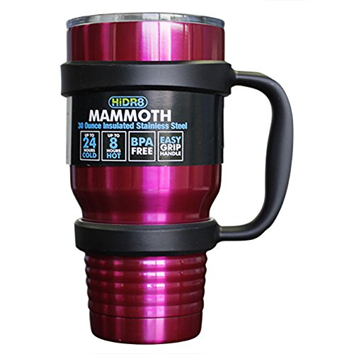 Mammoth Violet 30 oz Double Wall Vacuum Insulated Steel Tumbler Cruiser Thermos Clear Tight Lid with Sliding Sip Cover and Strong Black Handle. Keep Drinks Hot and Cold. Sweat & BPA Free.