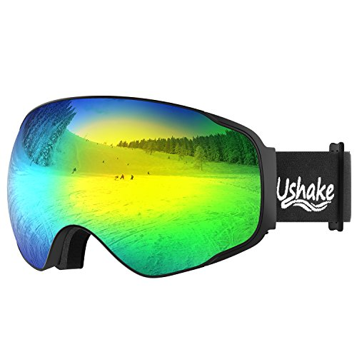 UShake Snow Ski Goggles, Snowboard Skiing Goggles with Detachable Mirrored Anti Fog REVO Lenses and Helmet Compatible for Adult or Youth