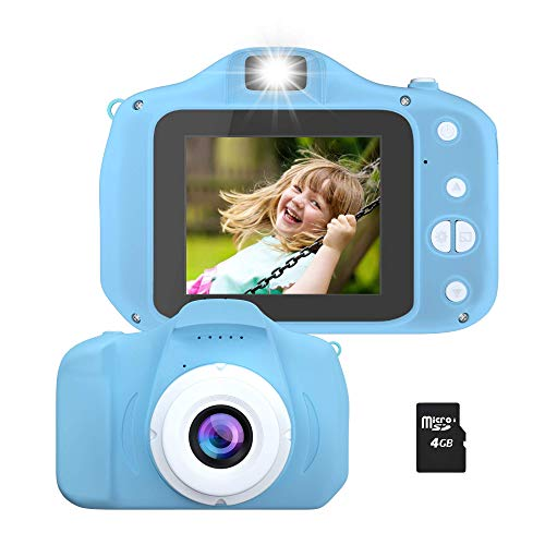 Kids Camera, Rechargeable Cute Kids Digital Video Camera Gifts, Mini Child Camcorder for Boys Girls with Shockproof Dual Lens 1080P 100-Degree Wide Angle, 4GB TF Card and Games
