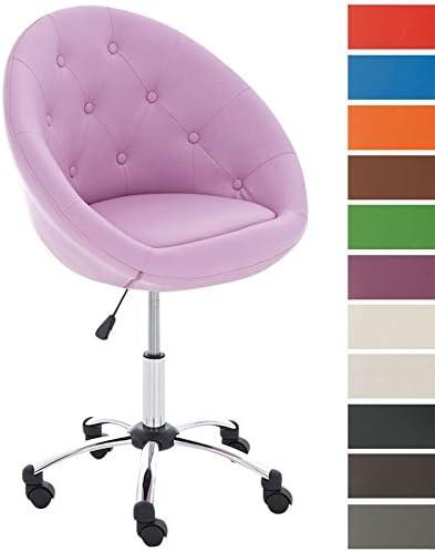 Sedia da Ufficio di design LONDON Sedia Scrivania Imbottita e Girevole I Sedia Studio in Similpelle e Regolabile in Altezza 51 63 cm IS, Colore:rosa