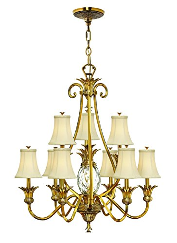Hinkley 4887BB Tropical/British Colonial Ten Light Foyer from Plantation collection in Brassfinish,