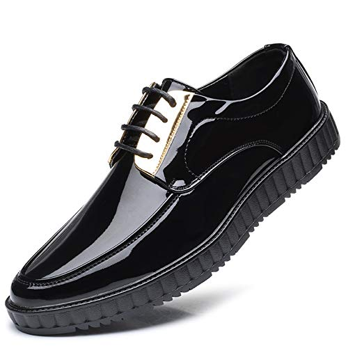 Cuero Zapatilla Negro Casual De Masculina Cómodo Moda Clásico Formal Iwgr Patente Oxford Punta Redonda Zapatos 6nOvW4q