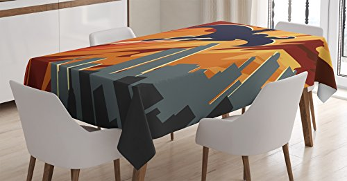 Vintage Decor Tablecloth by Ambesonne, Silhouette of Superhero over Apartments in Sky Night Fiction Comic Image, Dining Room Kitchen Rectangular Table Cover, 52W X 70L Inches, Red Orange (Best Female Superhero)