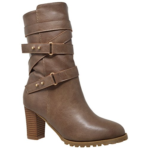 - KS & CO Women's Mid Calf Boot Strappy Buckle Studded Block Heel Shoes Taupe SZ 8