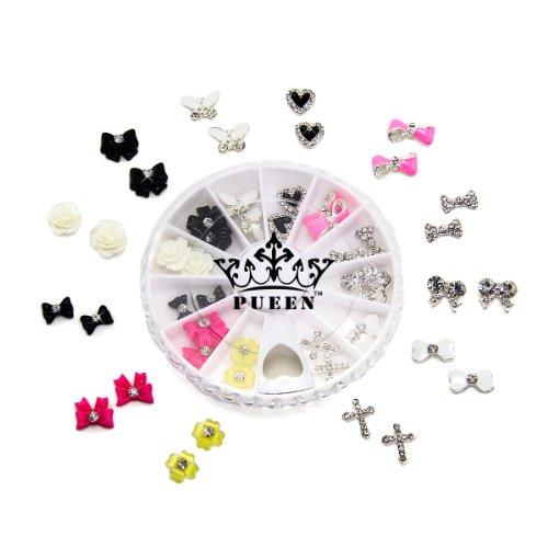 PUEEN 3D Nail Charms Wheel of 24pcs Resin & Alloy Rhinestone