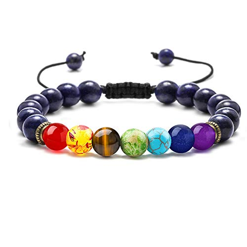 M MOOHAM Gemstone Chakra Bracelet - 8mm Natural Stone Chakra Bead Lapis Lazuli Anxiety Bracelet, Men Women Stress Relief Yoga Beads Bracelet Aromatherapy Essential Oil Diffuser Adjustable Bracelet