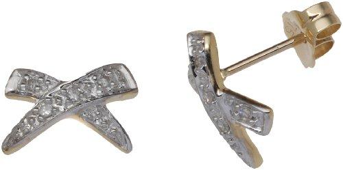 Boucles d'oreille Femme - E-10265 - Or jaune (9 cts) 0.8 Gr - Diamant 0.002 Cts
