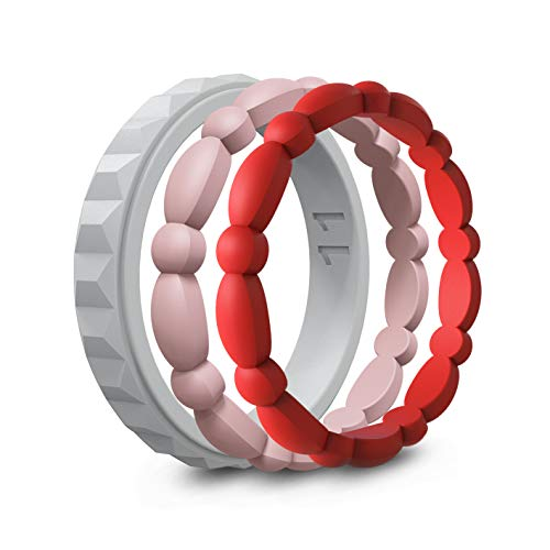 ASTERY Premium Silicone Wedding Ring for Women,Durable Stackable Thin Rubber Wedding Bands,3 Mix Style Pack 100% Guarantee(Silver1,Peach2,Red2,6-6.5(16.4mm))