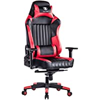 KILLABEE Big and Tall 440lb Racing Gaming Chair - Adjustable Tilt, Back Angle and 3D Arms Ergonomic High-Back Leather Executive Computer Desk Office Chair Detachable Headrest and Lumbar Support, Red