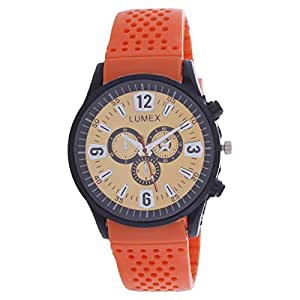 Lumex Men's Gold Dial Rubber Band Casual Watch - MS55BS6