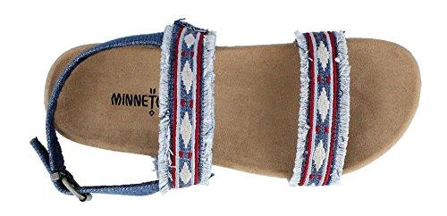 Minnetonka - Sandalias de vestir de tela para mujer Azul