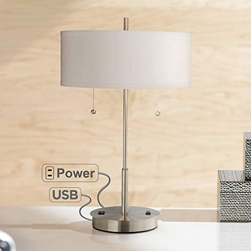 Base Outlets (Nikola Modern Accent Table Lamp with USB and AC Power Outlet in Base Silver White Drum Shade for Living Room Bedroom Office)