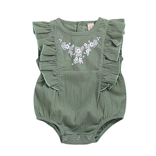 LNGRY Baby Romper,Toddler Newborn Kids Girls Summer Floral Button Ethnic Style Frill Romper Jumpsuit Playsuit (0-6 Months, Green)