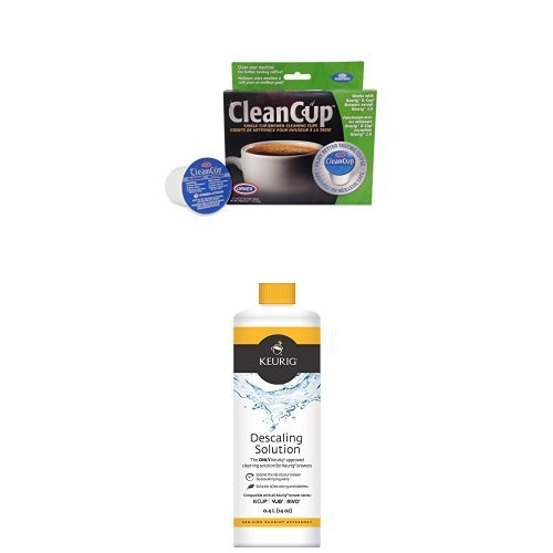 Clean Cup Single Cup Brewing Cleaning Cups and Keurig Descaling Solution Bundle by Clean Cup