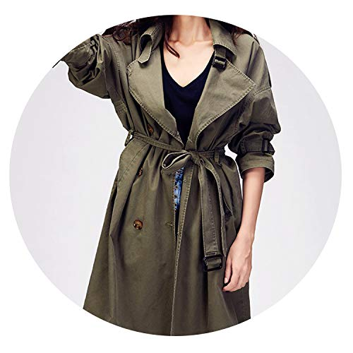 2019 Autumn New Women's Casual Trench Coat Oversize Double Breasted Vintage Outwear,Army Green,XL