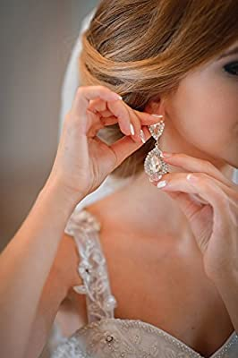 mecresh Clear/Gold Teardrop Austrian Crystal Bridal Dangle Earring