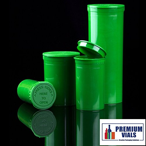 13 Dram, Pack of 10, Green Waterproof Airtight Smell Proof Stash Box Odor Sealing Container Prescription Vial Bottle with Child Resistant Squeeze Top - Pill Resistant