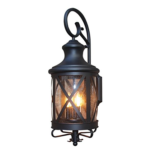 Y-Decor EL543BL-M EL5364BL-M Taysom 3 Exterior Lighting, Black by Y Decor