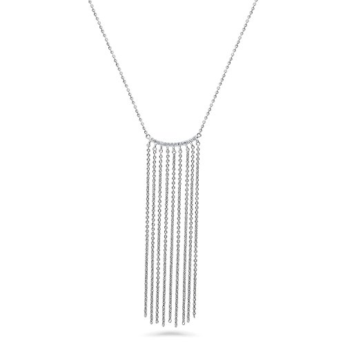 BERRICLE Rhodium Plated Sterling Silver Cubic Zirconia CZ Fringe Bar Fashion Necklace