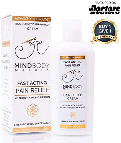 Pain Relief Cream with Essential Oils 4 Ounces - Great for Arthritis, Joint, Muscle, Nerve Pain, and Back Relief - Natural Arnica, Calendula, Aloe Vera, Tea Tree, L-Theanine, GABA by MindBody Matrix