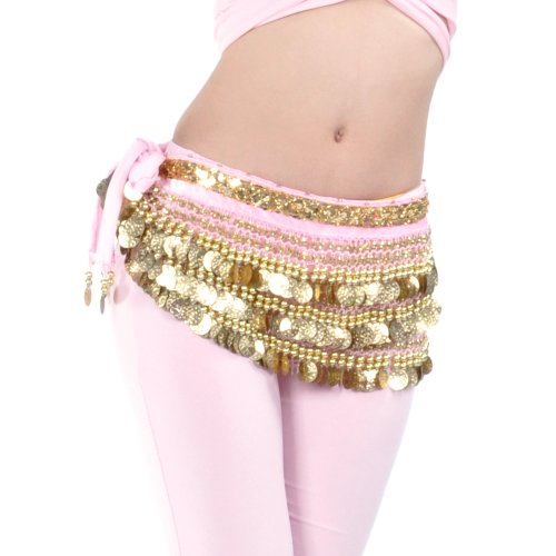 BellyLady Multi-Row Gold Coins Belly Dance Skirt Wrap & Hip Scarf, Gift ()