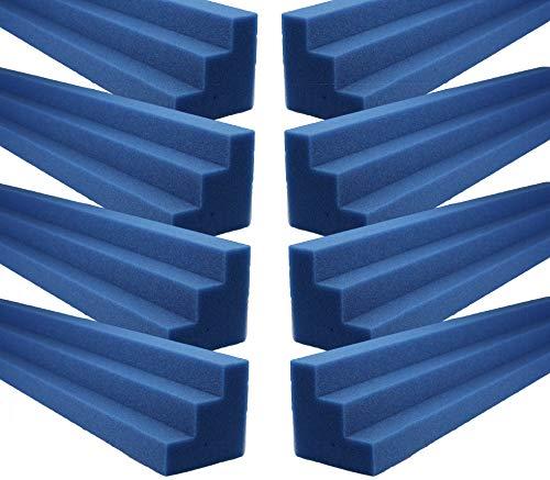Blue XL Column Acoustic Wedge Studio Foam Corner Block Finish Corner Wall in Studios or Home Theater (8 Pack)