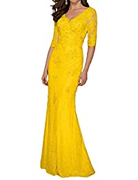 Fitty Lell Womens Sheath Lace Mother Of The Bride Dress With Half Sleeve