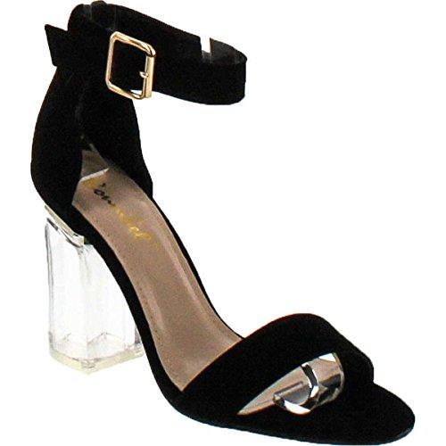 Liliana X2b OYA-1 Clear See Through Dress Sandal W Lucite Perspex Acrylic High Heel,Oya1black,7.5