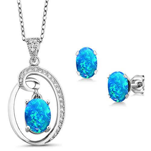 Gem Stone King 2.62 Ct Oval Cabochon Blue Simulated Opal Sterling Silver Pendant Earrings ()