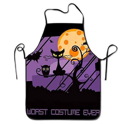 LGDZ Fricstar Worst Costume Ever Halloween Scared Black Cat New Apron Chef Kitchen Cooking Apron -