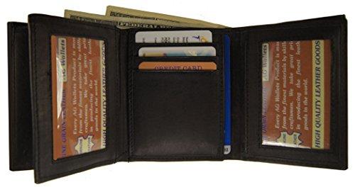 Men Trifold Cowhide Leather Wallet Multi Pocket Center Flap Style Card Id Black (Cowhide Flap)