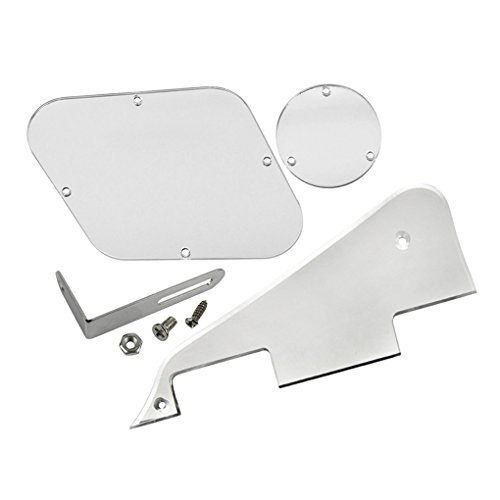 FLEOR 1Ply Silver Mirror Pickguard Scratch Plate Back Plate Bracket(Chrome) with Pickguard Screws Fit Gibson Les Paul Pickguard Replacement