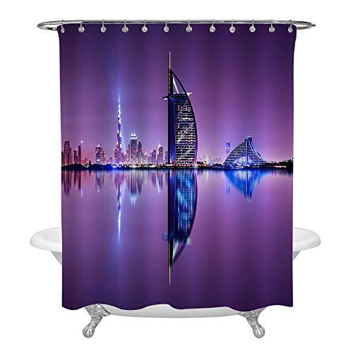 MitoVilla Beautiful Skyline Scene in Dubai Bathroom Shower Curtain Set with Hooks, World's First Seven Stars Luxury Hotel Burj Al Arab, Waterproof Machine Washable Home Decor, 72 x 84 inches, Purple