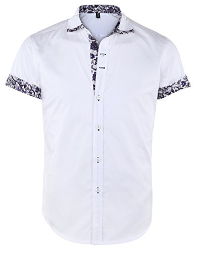 (JEETOO Men's Floral Shirts Short Sleeve Print Dress Shirt Button Down Summer Casual Shirt, (Large, White))