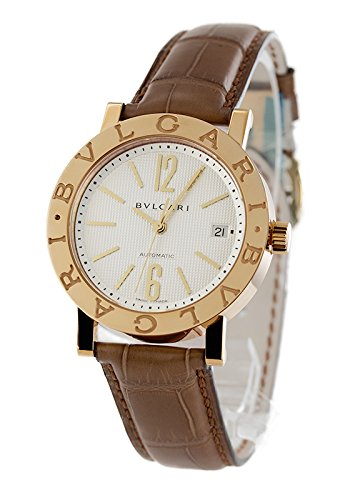 BVLGARI Silver dial automatic winding K18YG innocent alligator leather BB38WGLDAUTO Men watch