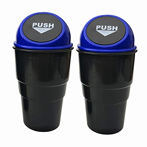AISIBO Car Trash Can, Mini Auto Garbage Can Automotive Vehicle Rubbish Bins Holder for Vehicle Auto Car, Office Desk, Home, Waste Storage (Blue, Pack of 2) (Car Auto Trash Can Blue)