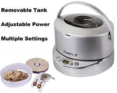 Ivation IVUC96 Digital Ultrasonic Cleaner with Adjustable Power, Removable 17-ounce Stainless Steel Wide Tank, Jewelry Basket, Watch & Earring Holder, CD DVD Stand, 5 Individual Cleaning Cycles & Auto-Shut-off - Generates 42,000 Ultra Sonic Energy Waves P