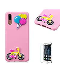 Funyye 3D Silicone Case for Huawei P20,Stylish Cute Balloon Bicycle Pattern Soft Gel Flexible TPU Cover for Huawei P20,Shockproof Non Slip Slim Fit Rubber Durable Shell Bumper Back Protective Case for Huawei P20 + 1 x Free Screen Protector
