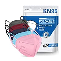 KN95 Face Mask 50 PCs, WWDOLL Multiple Colour 5 Layers KN95 Masks, Filter Efficiency≥95% Protection Against PM2.5 Dust, Air Pollution(Grey, Pink, Red, Purple, Blue)