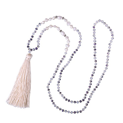 - KELITCH Jewelry Mother of Pearls Tassel Pendant Necklace for Women & Girls, White Beige
